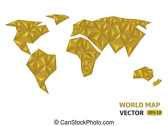 Earth planet - Vector golden polygonal style illustration of...