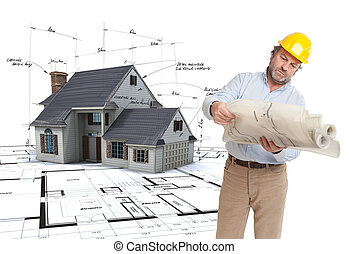 Architect consulting his plans