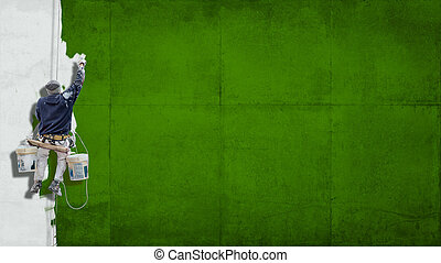 Industrial paint green background - Building Painter hanging...