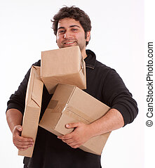 Man struggling with lots of parcels - Portrait of a young...