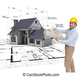 Architect displaying his project