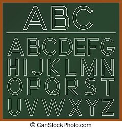 Alphabet - School Alphabet on the green board Vector...