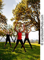 Park Exercise - A group of people doing jumping jacks in the...