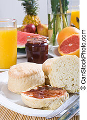 english breakfast - a english breakfast of scones and jam...