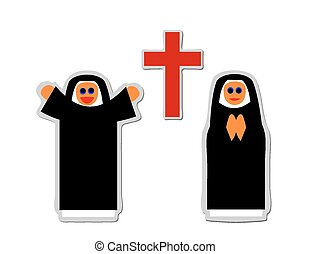 christian nun - Simple icon of christian nun rejoicing and...