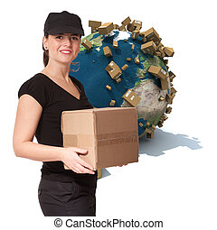 Immediate delivery - Female messenger holding a package with...