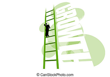 Growth – business man stuck on missing rung of ladder - 3D...