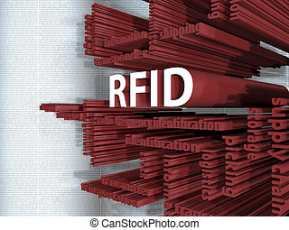 RFID - 3D - RFID - Symbol in a 3D illustration on logistics