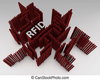 RFID - Symbol - 3D - RFID - Symbol in a 3D illustration on...