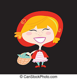 Red Riding Hood isolated on black background