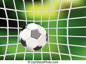 goal net. football ball and net on abstract green background