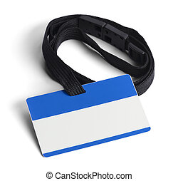 Blue Plastic ID Card - Blue ID Card with Copy Space Isolated...