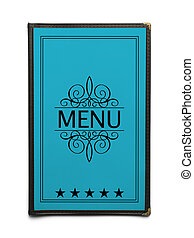 Blue Menu - Blue Generic Restaurant Menu with Five Stars...