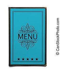 Blue Menu - Blue Generic Restaurant Menu with Five Stars...