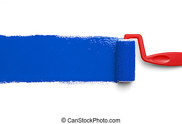 Paint Roller Blue - Red Paint Roller with Blue Paint...