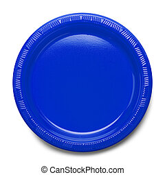 Blue Plastic Plate - Empty Plate Top View Isolated on White...
