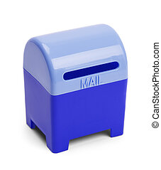 Blue Post Box - Blue Mail and Letter Drop Box Isolated on...