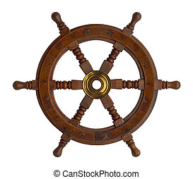Boat Wheel - Wood Ship Wheel Isolated on White Background