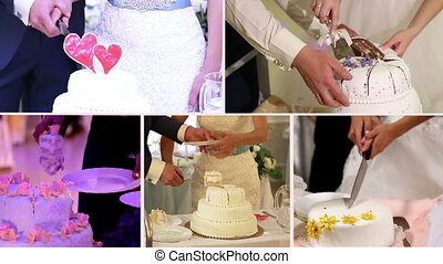 Wedding cake cutting collage, five screens