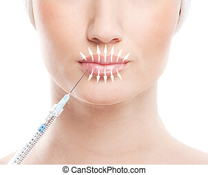 Beautiful face and the syringe (plastic surgery and botox...
