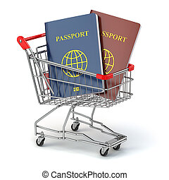 Passports in shopping cart. Paperwork to emigrate. 3d