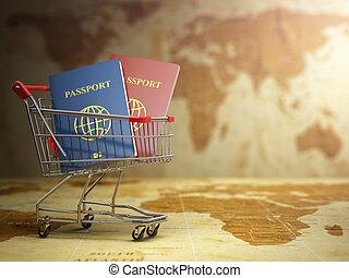 Passports in shoppi