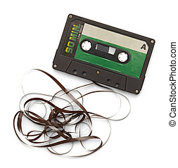 Broken Tape Cassette - Old Cassette with Tape Unwound...