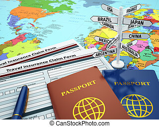 Travel insurance application form, passport and sign of...