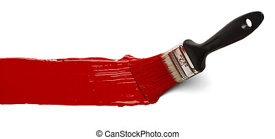 Brush With Red Paint - Paint Brush Stroke Across Page...