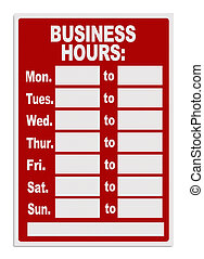 Business Hours Sign - Red Open Sign with Copy Space Isolated...