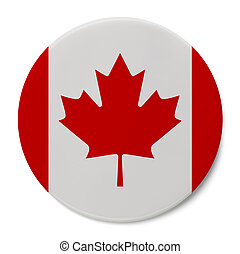Canada Flag Badge - Round Pin With Canadian Flag Isolated on...