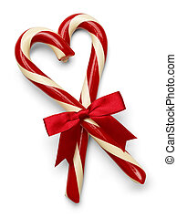Candycane Heart - Two Candy Canes in Heart Shape with Red...