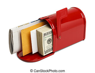Cash Mail - Red Mailbox with Letters and Money Isolated on...