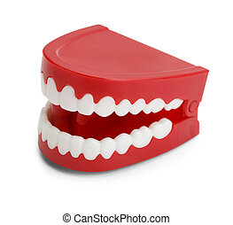 Chatter Teeth - Red Plastic Wind Up Chatttering Teeth....