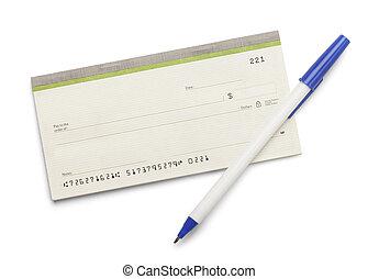 talao cheque, caneta,