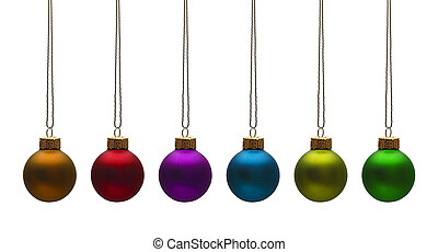 Christmas Bulbs - Round Tree Ornaments Isolated on White...