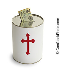 Church Donation Can with Cross and Money Isolated on White...