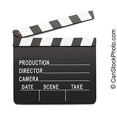Clap Board - Movie Directors Clap Board Isolated On White...