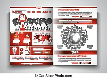 Vector bi-fold brochure template design or flyer layout to...
