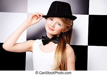 checkered - Elegant teen girl wearing white dress, black hat...