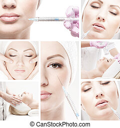 Collage made of some different pictures with the botox...