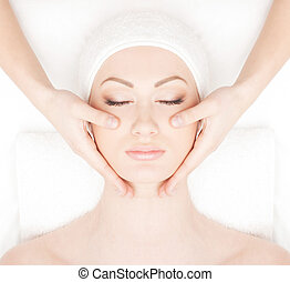 Young beautiful lady getting spa treatment - Spa styled...