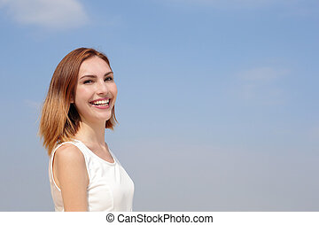 Charming smile happy woman