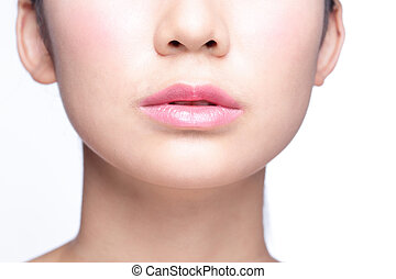young woman with beautiful lips