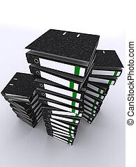 binders - 3d rendered illustration of many black folders