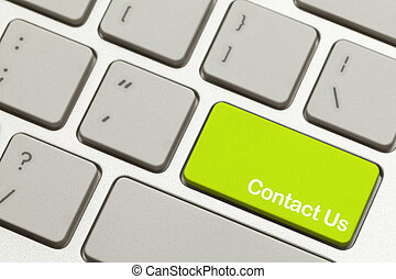 Contact Us Key - Close Up of Green Contact Us Key Button on...
