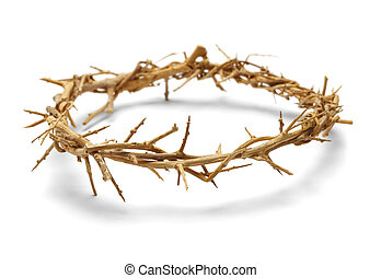 Crown of Thorns - Wooden Crown of Thorns Isolated on White...