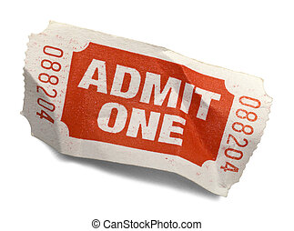 Crumpled Ticket - Red Crumpled Admit One Ticket Isolated on...