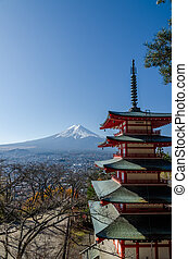 Chureito Peace Pagoda, built on a hilltop facing Mt. Fuji