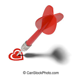 Love Target - Red Dart Stuck in Heart Isolated on White...